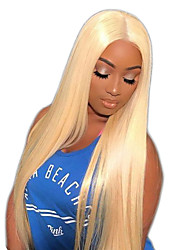 cheap -Virgin Human Hair Full Lace Wig Brazilian Hair Straight 150% Density With Baby Hair / Natural Hairline Blonde Women's Long / Mid Length / Very Long Human Hair Lace Wig