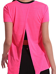 cheap -Women's Split Yoga Top - Black, Blue, Pink Sports Solid Color Spandex Tee / T-shirt Pilates, Exercise & Fitness, Running Short Sleeves Activewear Lightweight, Quick Dry, Breathable High Elasticity