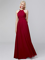 cheap -A-Line Halter Neck Floor Length Chiffon Bridesmaid Dress with Side Draping / Ruffles by LAN TING BRIDE® / Open Back