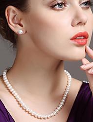 Недорогие -Жен. Белый Пресноводный жемчуг Жемчужные ожерелья - Стерлинговое серебро, Нержавеющая сталь, Пресноводный жемчуг Дамы, Простой, Мода, Элегантный стиль Белый 45 cm Ожерелье Бижутерия 1шт Назначение
