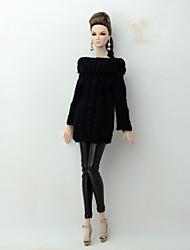 baratos -Corpos separados / Calças Cardigãs e Suéteres Para Boneca Barbie Preto Têxtil / Couro Ecológico / Lã artificial Blusa / Calças Para Menina de Boneca de Brinquedo