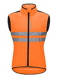 economico -WOSAWE Per uomo Senza maniche Gilet da ciclismo - Arancione Bicicletta Canottiera / Gilet / Canotta / Maglietta / Maglia, Antivento, Strisce riflettenti