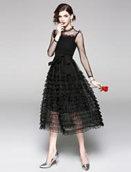 Недорогие -Жен. Винтаж / Изысканный А-силуэт / Маленькое черное Платье - Однотонный, Кружева / Рюши / Сетка Средней длины