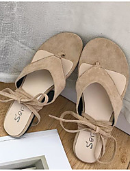 povoljno -Žene Cipele Brušena koža Ljeto Udobne cipele Sandale Niska potpetica Bež / Braon / Zelen