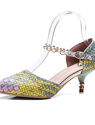 baratos -Mulheres Sapatos Couro Ecológico Verão Conforto Saltos Salto Agulha Dedo Fechado Roxo / Amarelo / Vermelho