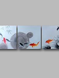 Недорогие -Hang-роспись маслом Ручная роспись - Абстракция Пейзаж Современный Включите внутренний каркас / 3 панели / Растянутый холст