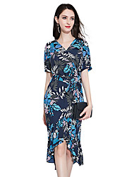 cheap -Women's Chiffon / Swing / Trumpet / Mermaid Dress - Floral / Geometric Ruffle / Lace up / Patchwork
