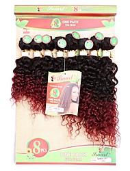 Недорогие -Laflare Уток / плетение волос Расширения человеческих волос Кудрявый Разноцветный Омбре Пучок волос Накладки из натуральных волос Натуральные волосы Бразильские волосы / Крупные кудри 8шт