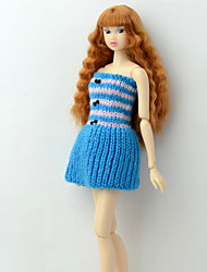cheap -Dresses Dresses For Barbie Doll Blue Basketwork / Acrylic Fibers Dress For Girl's Doll Toy