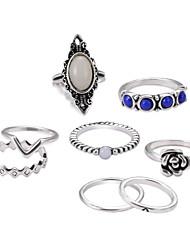 baratos -Mulheres Safira Oco Conjuntos de anéis / Conjunto de anéis - Clássica, Wa, Francês Prata Para Graduação / Cerimônia
