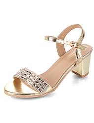 economico -Per donna Scarpe PU (Poliuretano) Estate Con cinghia Sandali Footing Quadrato Occhio di pernice Con diamantini Oro