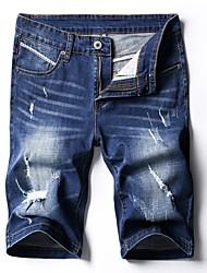 cheap -men's cotton slim jeans / shorts pants - solid colored