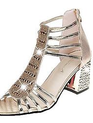 お買い得  -女性用 靴 PUレザー 夏 ベーシックサンダル サンダル チャンキーヒール ゴールド / シルバー