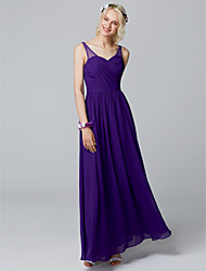 cheap -A-Line V Neck Floor Length Chiffon Bridesmaid Dress with Pleats by LAN TING BRIDE®