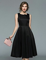 cheap -Women's Vintage / Sophisticated Little Black / Swing Dress - Solid Colored Ruched / Pleated / Embroidered