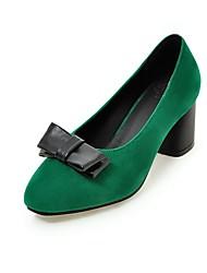 baratos -Mulheres Sapatos Couro Sintético Outono Plataforma Básica Saltos Salto de bloco Ponta Redonda Laço Preto / Vinho / Verde Escuro