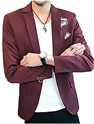 cheap -Men's Business Blazer-Solid Colored,Embroidered