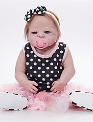baratos -FeelWind Bonecas Reborn Bebês Meninas 22 polegada Silicone de corpo inteiro - realista, Implantação artificial olhos azuis de Criança Para Meninas Dom