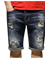 economico -Per uomo Cotone Largo Jeans Pantaloni - Tinta unita