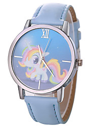 baratos -Xu™ Mulheres Relógio Elegante / Relógio de Pulso Chinês Criativo / Relógio Casual / Mostrador Grande PU Banda Desenho / Fashion Preta / Branco / Azul / Um ano