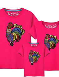 baratos -3 Peças Bébé Olhar de família Sólido / Estampa Colorida Manga Curta Camiseta