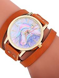 cheap -Xu™ Women's Bracelet Watch / Wrist Watch Chinese Creative / Casual Watch / Adorable PU Band Cartoon / Fashion Black / White / Red / Large Dial / One Year