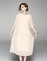 baratos -Mulheres Vintage / Temática Asiática balanço Vestido - Bordado, Sólido Médio