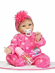 Недорогие -NPKCOLLECTION Куклы реборн Девочки 24 дюймовый Силикон - Искусственные имплантации Голубые глаза Детские Девочки Игрушки Подарок