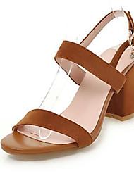 preiswerte -Damen Schuhe PU Frühling Sommer Pumps Sandalen Blockabsatz Offene Spitze Schnalle Beige / Gelb / Rosa / Party & Festivität