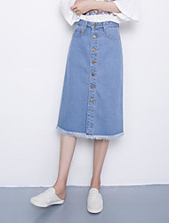 cheap -Women's Going out Denim A Line Skirts - Solid Colored High Waist