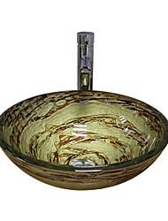 Недорогие -смеситель для ванной Современный - Закаленное стекло Круглый