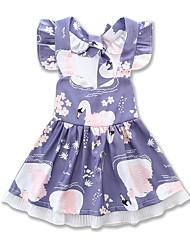 Недорогие -малыш Девочки Цветочный принт / С принтом С короткими рукавами Платье
