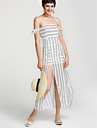 cheap -Women's Holiday / Casual / Daily Sheath Dress - Striped White, Split High Waist Maxi Strapless / Spring