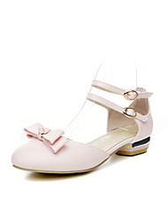 baratos -Mulheres Sapatos Couro Ecológico Outono Tira no Tornozelo Rasos Salto de bloco Ponta Redonda Laço Branco / Rosa Claro / Casamento