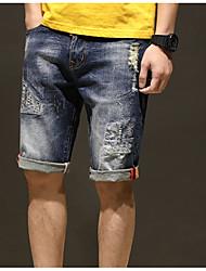 cheap -men's cotton jeans / shorts pants - solid colored