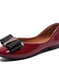 お買い得  -女性用 靴 PUレザー 春夏 コンフォートシューズ フラット ウォーキング フラットヒール ラウンドトウ スパークリンググリッター / リボン紐 ベージュ / レッド / カーキ色