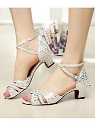 baratos -Mulheres Sapatos de Dança Latina Couro Ecológico Salto Salto Grosso Sapatos de Dança Branco / Vermelho / Espetáculo / Ensaio / Prática