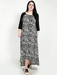 cheap -Cute Ann Women's Vintage / Boho T Shirt / Swing / Trumpet / Mermaid Dress - Geometric / Color Block Black & White