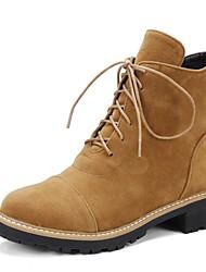 Недорогие -Жен. Обувь Полиуретан Наступила зима Модная обувь Ботинки На низком каблуке Круглый носок Ботинки Черный / Миндальный