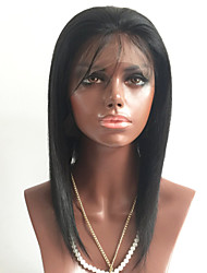 Недорогие -человеческие волосы Remy Лента спереди Парик Бразильские волосы Прямой Черный Парик Стрижка каскад 130% Плотность волос с детскими волосами Природные волосы Черный Жен. Короткие