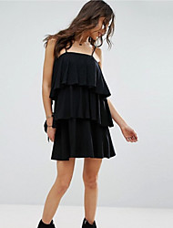 cheap -Women's Little Black Dress - Solid Colored Strap