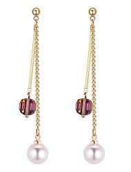 Недорогие -Жен. Синтетический алмаз Длиные Серьги-слезки - Искусственный жемчуг Мода Белый / Черный / Светло-коричневый Назначение Вечеринка / ужин На выход