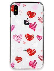 Недорогие -Кейс для Назначение Apple iPhone X / iPhone 8 Ультратонкий Кейс на заднюю панель Плитка / С сердцем Мягкий ТПУ для iPhone X