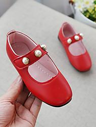 abordables -Chica Zapatos PU Primavera verano Confort / Zapatos para niña florista Bailarinas Paseo Perla de Imitación para Adolescente Rojo / Rosa / Morrón Oscuro