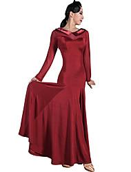 baratos -Dança de Salão Vestidos Mulheres Treino Fio Elástico / Seda Sintética Combinação Manga Longa Natural Vestido