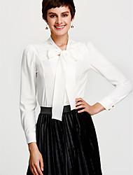 Недорогие -Жен. Офис / На каждый день Рубашка Хлопок / Полиэстер, Рубашечный воротник Уличный стиль Однотонный