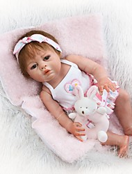 cheap -NPKCOLLECTION Reborn Doll Baby Girl 22 inch Full Body Silicone / Silicone / Vinyl - Artificial Implantation Brown Eyes Kid's Girls' Gift