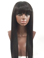 cheap -Remy Human Hair Full Lace Wig Brazilian Hair Straight Layered Haircut 130% Density Natural Hairline / With Bangs Black Women's Long Human Hair Lace Wig