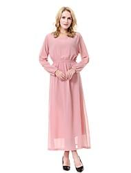 baratos -Mulheres balanço / Abaya / Kaftan Vestido Sólido Médio