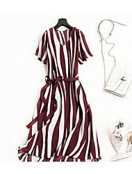 abordables -Mujer Básico / Tejido Oriental Camiseta / Corte Swing Vestido - Acordonado / Estampado, A Rayas Maxi / Asimétrico